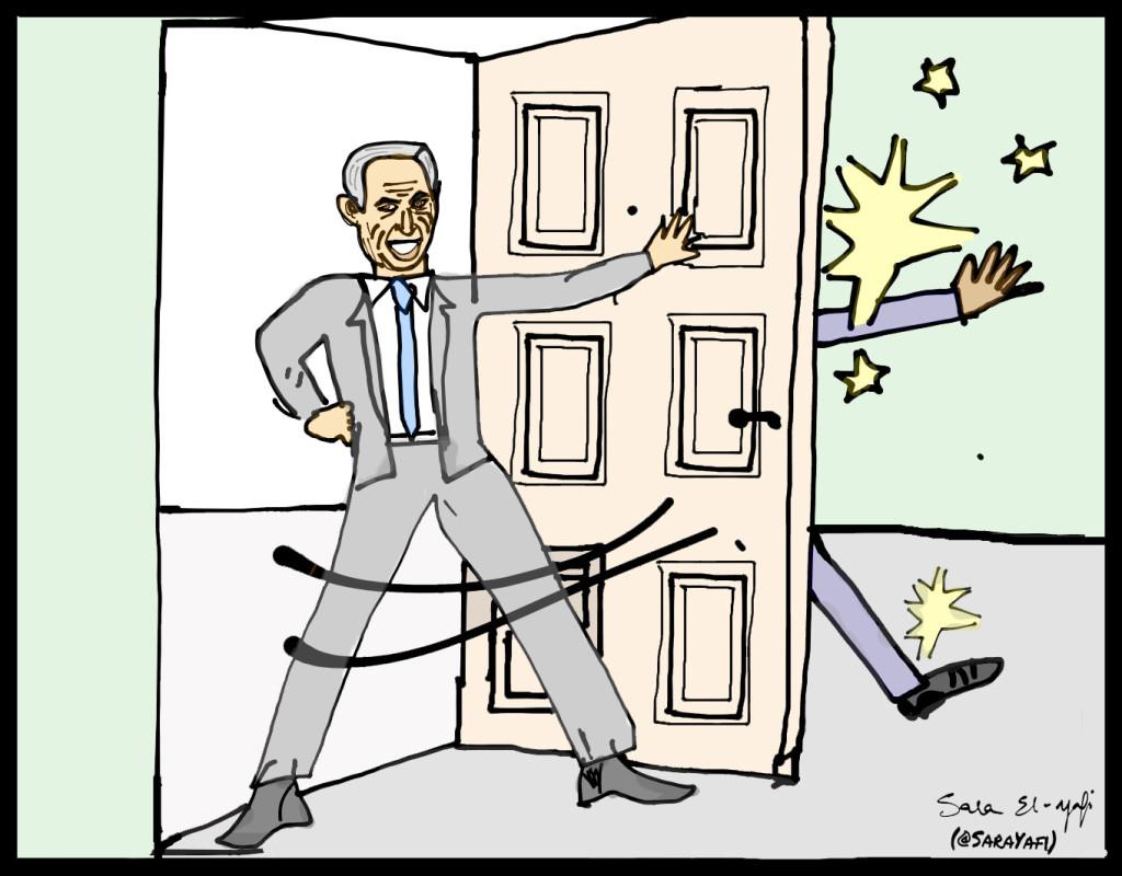 Slide 6 - Bibi barging through the door signed